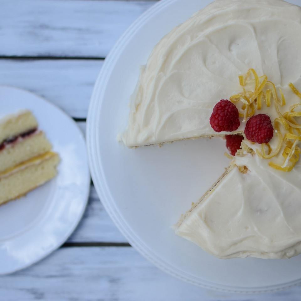 Vera's Traditional Yellow Layers with Lemon Curd and Raspberry Jam