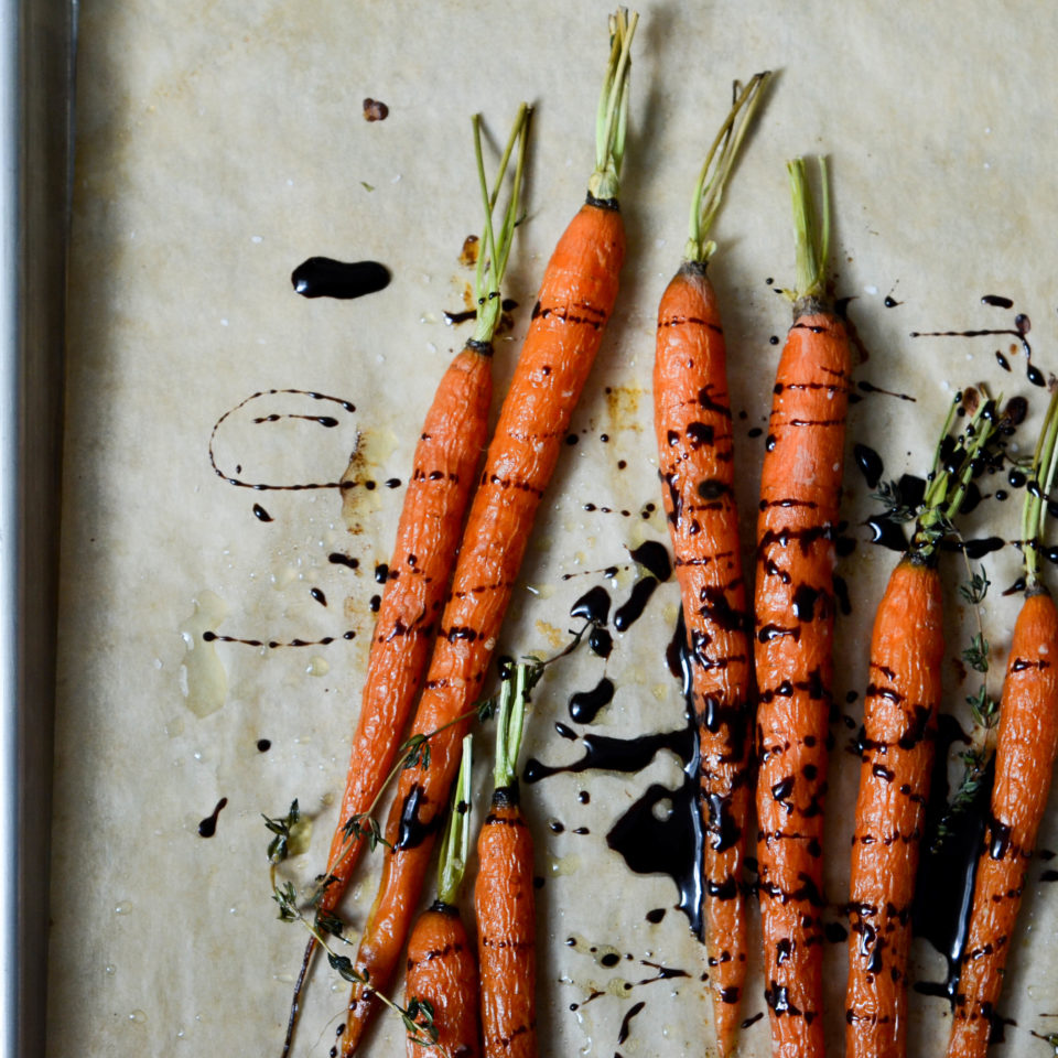 Dark Chocolate Balsamic Roasted Carrots