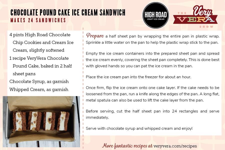 Chocolate pound cake ice cream sandwich veryvera this treat is easy to make for a big crowd so dont show up without it at your next summer gathering for printable recipe cards click here for the pound ccuart Choice Image