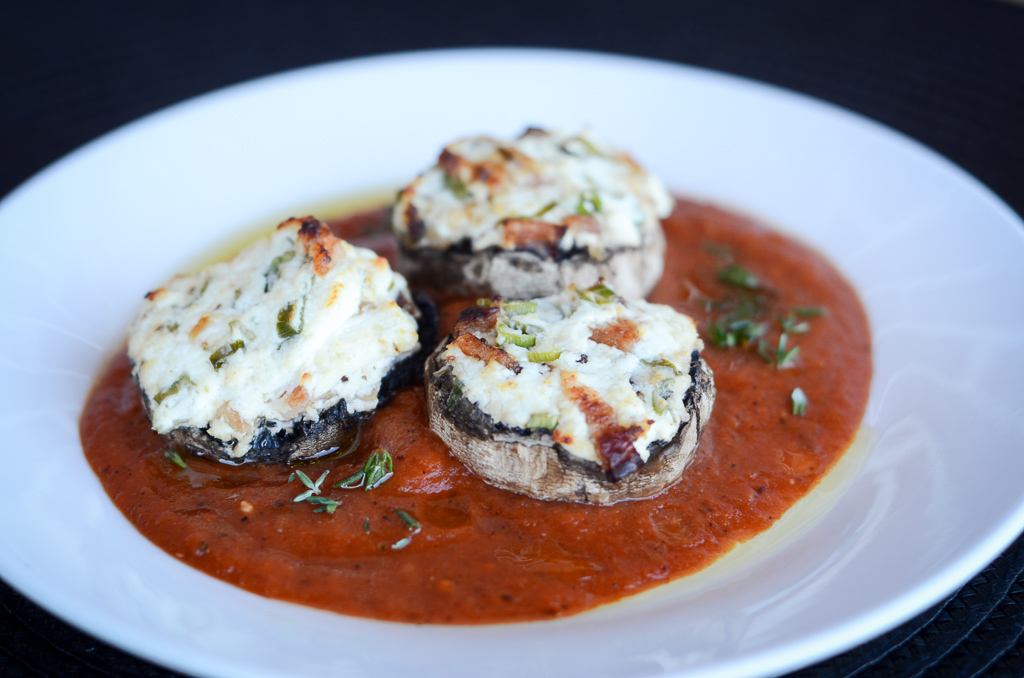 Truffle Goat Cheese and Bacon Stuffed Mushrooms with a Roasted Red Pepper Sauce and a Truffle Herb Oil