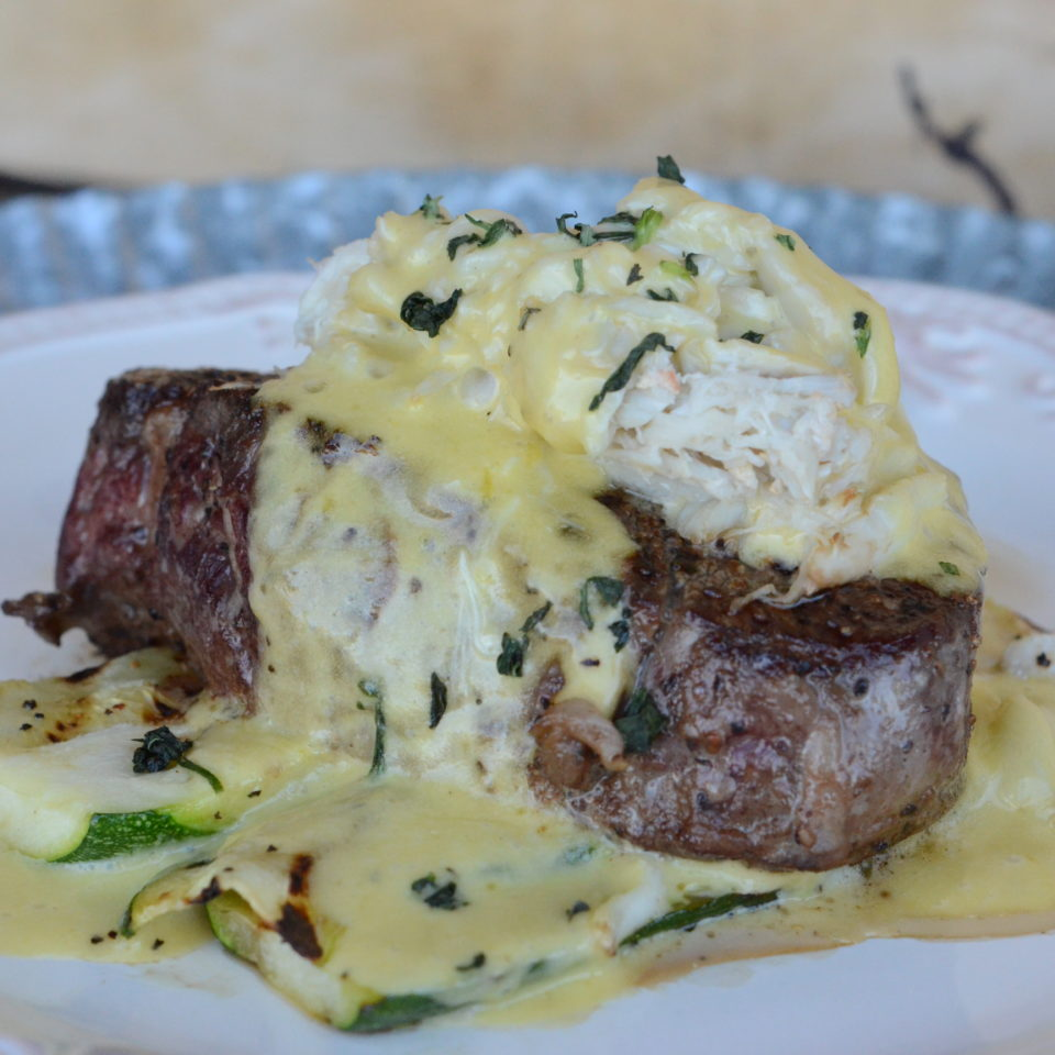 Filet Oscar (Beef Tenderloin Medallions with Lump Crab, Bearnaise and Grilled Zucchini)