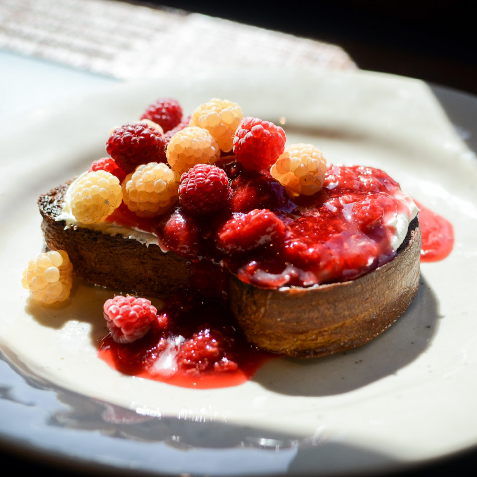 Caramel Toast with Mascarpone Cheese and Raspberry Jam