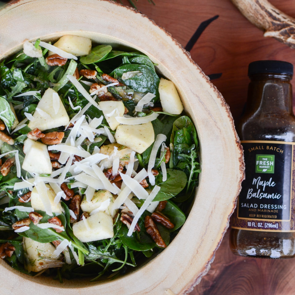 Arugula, Spinach, Apple and Fennel Salad with Maple Balsamic Vinaigrette