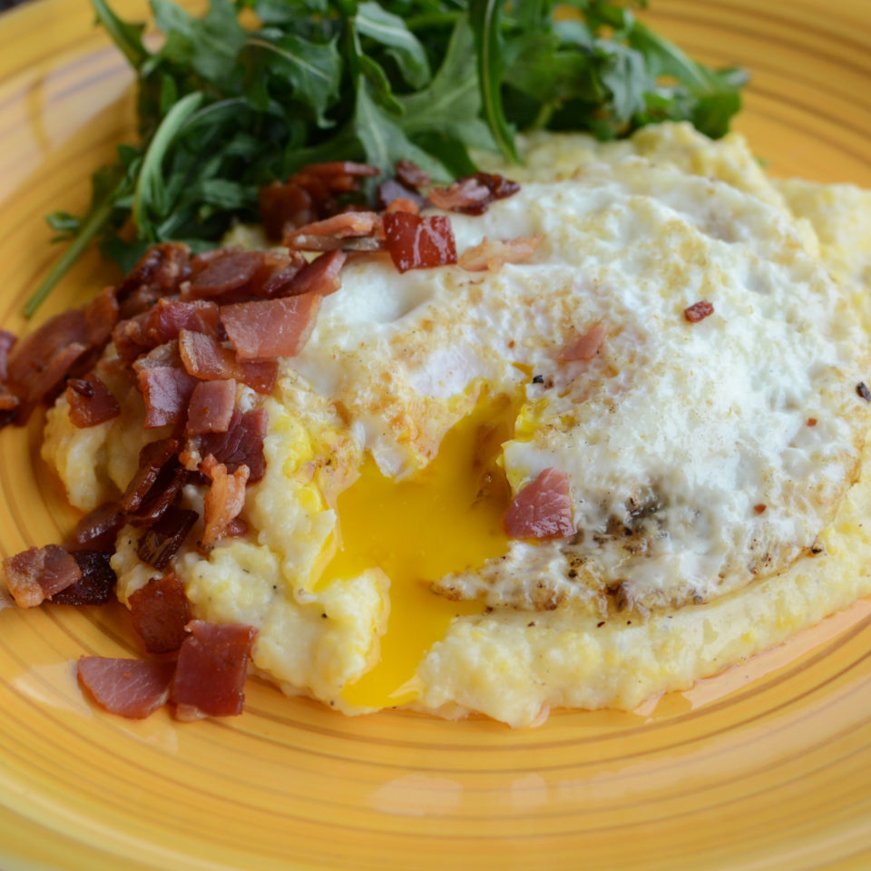 Creamy Polenta with Pancetta, Fried Egg, and Arugula