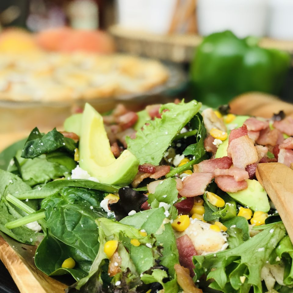 Rosemary Chicken & Peach salad with hot bacon vinaigrette