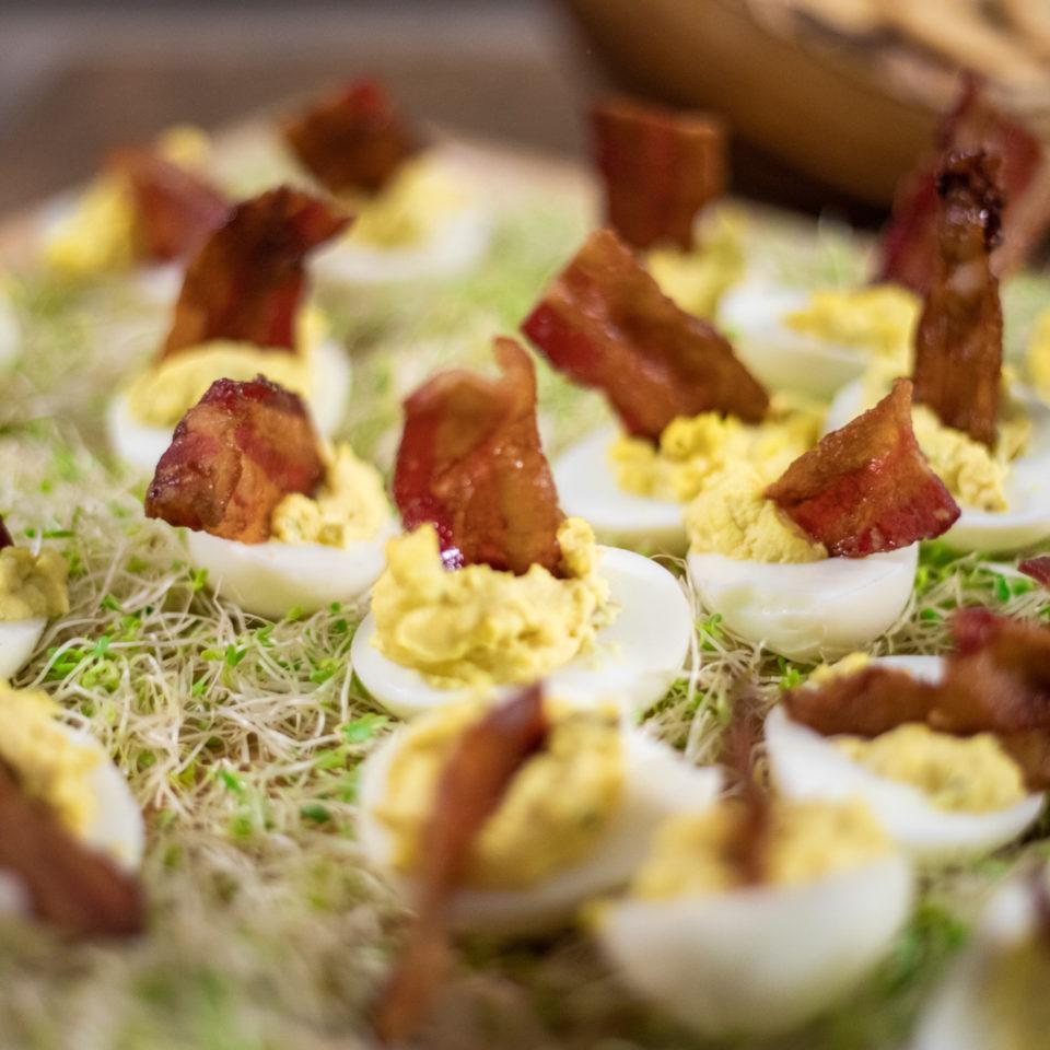 Bourbon Bacon Deviled Eggs